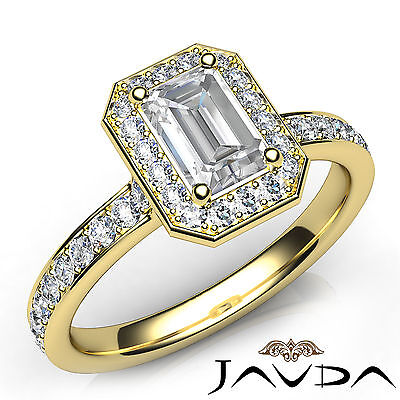 Halo Pave Setting Emerald Cut Diamond Engagement Cathedral Ring GIA F VS1 1.17Ct