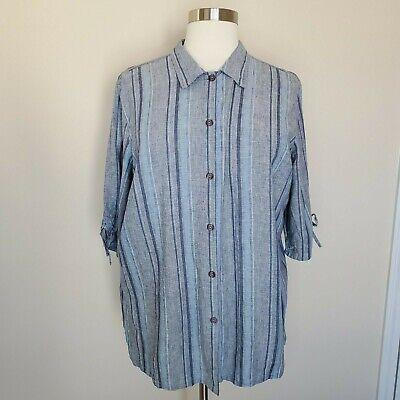 Avenue Plus Size 26 28 Button Front Linen Blend Top Blouse Shirt Blue Stripe  Plus Size Linen Blend Shirt