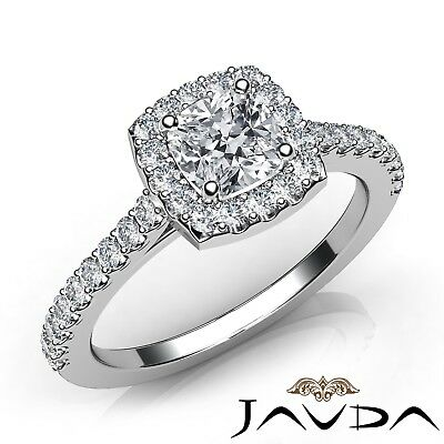 1.5ctw U Cut Pave Set Halo Cushion Diamond Engagement Ring GIA E-VS2 White Gold
