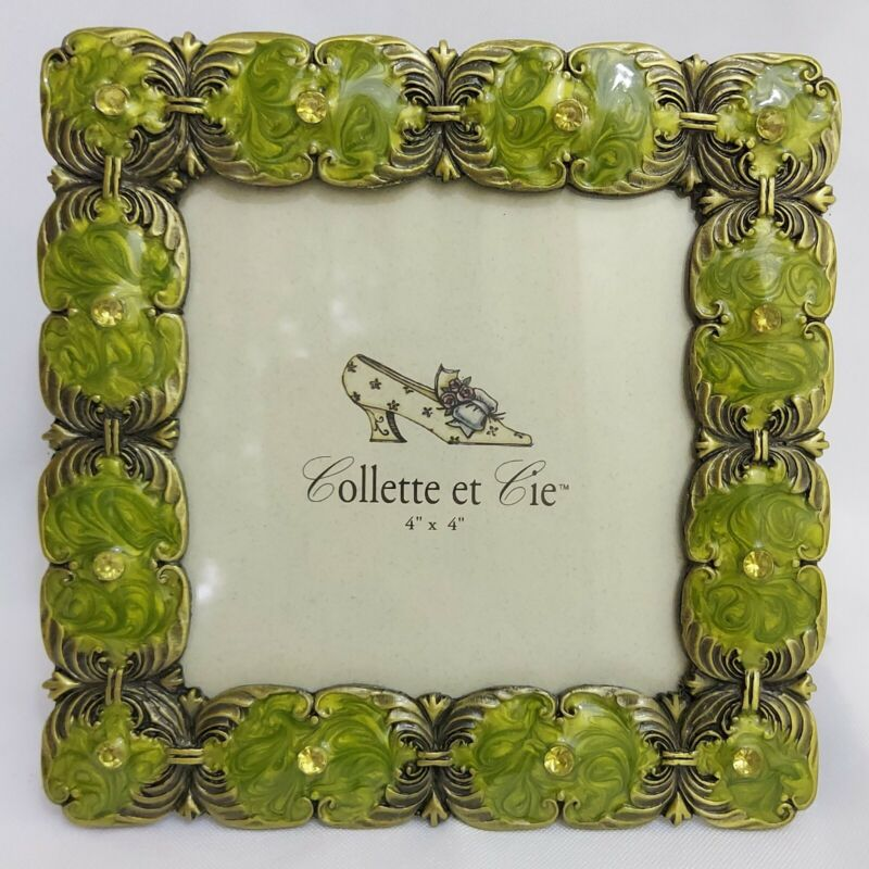 Collette et Cie Green Enamel and Crystal Picture Frame 4x4