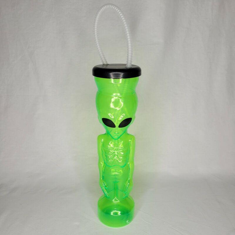 Vintage Green Plastic Sci Fi Alien Drinking Cup Tumbler Rare Display 1999 EUC