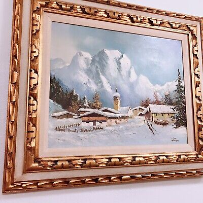 Vtg Antique Original Russian Oil Painting Small Town Church Signed GORGEOUS!