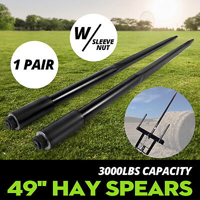 Two 49 3000 Lbs Hay Spears Nut Bale Spike Fork Pair Forged Tine Bales New