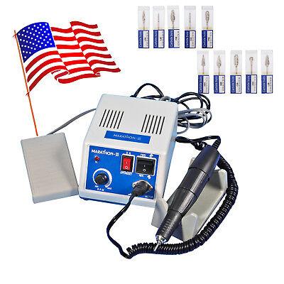 Dental Lab Marathon Handpiece 35k Rpm Electric Micromotor Polisher Drill 10 Bur