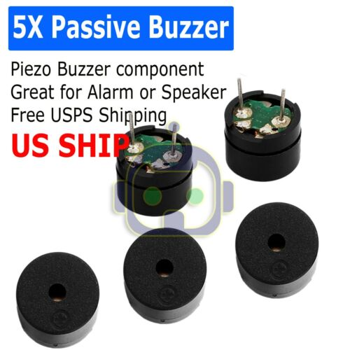 5 x Passive Buzzer Acoustic Component Mini Alarm Speaker For Arduino 5V USA