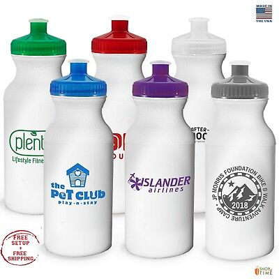 Personalized Sports Water Bottles 20 oz. Printed W/ School Name / Logo 100 QTY