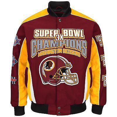 Washington Redskins 3 Time Super Bowl Champion Jacket  Size 3X Free Ship