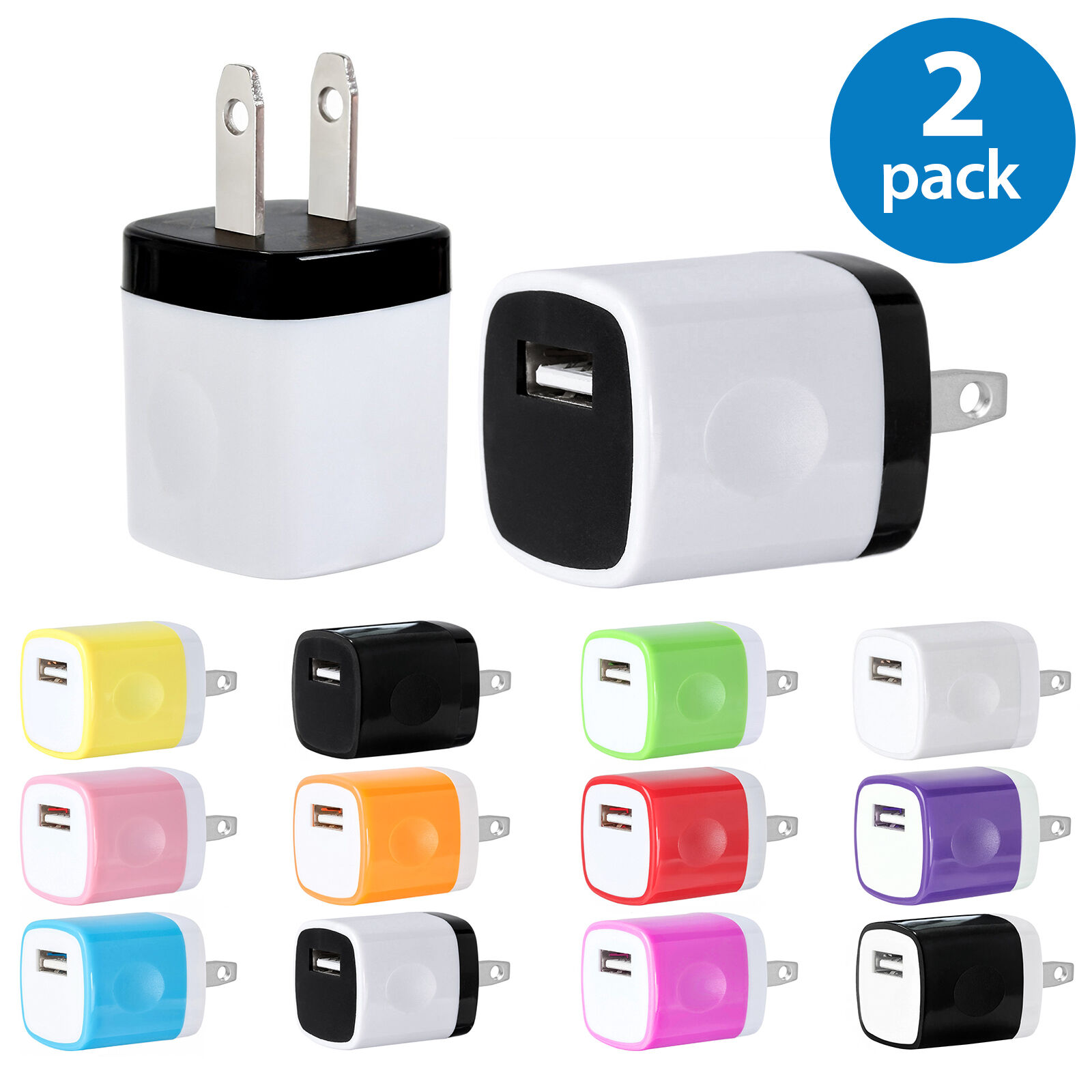 Iphone 5 Charger - 2x USB Wall Charger Plug Home Power Adapter For iPhone 5 6 7 Samsung Android LG