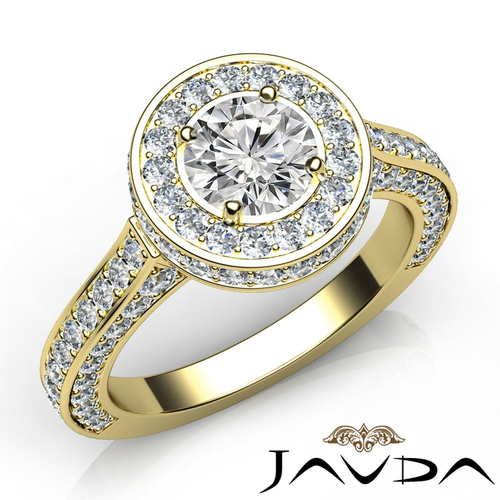 Circa Halo Pave Set Round Shape Diamond Engagement Filigree Ring GIA F VS1 3.1Ct
