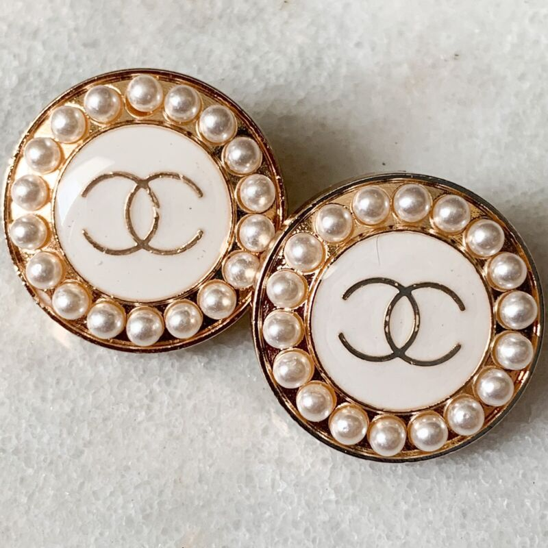 Chanel Buttons Logo White Enamel Pearls Stamped Auth 20 mm - Lot of 2