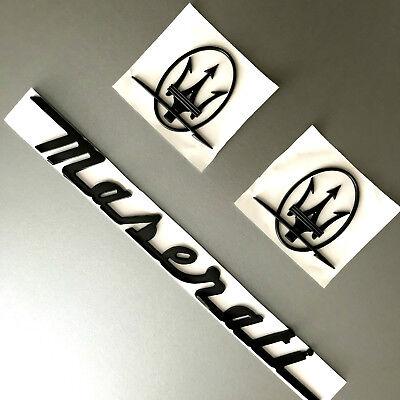 3PC SET Matte Black Emblem For Maserati RH & LH Side Trunk Logo Badges Nameplate
