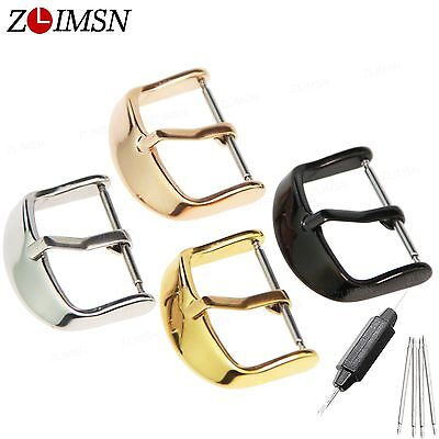 16 18 20mm 22mm Solid Stainless Steel Polished Watch Band Clasp Strap Pin Buckle