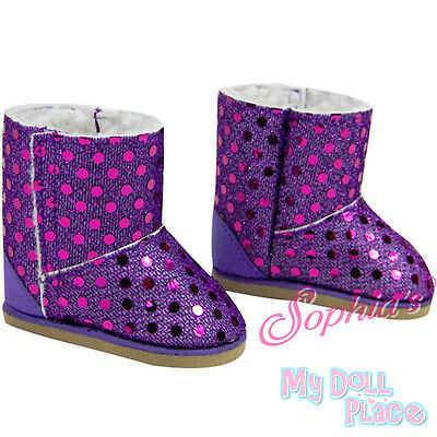 Purple Boots Sequins Winter Shoes made for 18 inch American Girl Doll Clothes - Girls Purple Sequin Boots