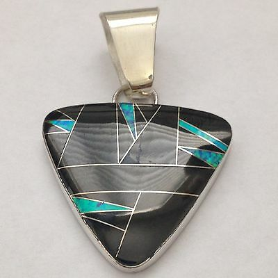 Sterling Silver Handmade Large Inlay Oval Triangle Pendant