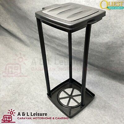 Quest Leisure Multi Height Collapsible Eco Waste Bin & Sack Holder BLACK   K0048