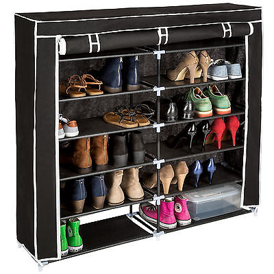 Schuhschrank Schuhregal 6 Ebenen 24 Paar Schuhe Stecksystem Schuhständer schwarz