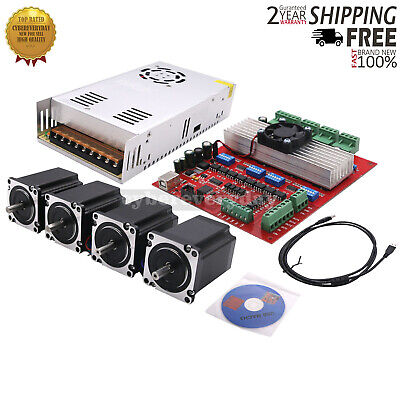 Mach3 Cnc 4-axis Kit Stepper Motor Controller4pcs Stepper Motorpower Supply