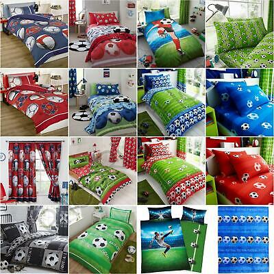FOOTBALL KIDS - SINGLE DOUBLE DUVET COVER / CURTAINS / FITTED SHEET / THROW