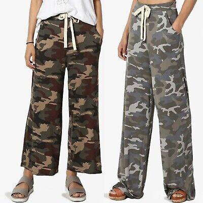 TheMogan S~3X Camouflage Lite Jersey Crop & Full Wide Leg Culotte Lounge Pants