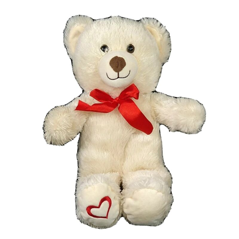 Best Made Toys Teddy Bear Plush Cream Stuffed Toy Red Bow Heart Valentines 16 in
