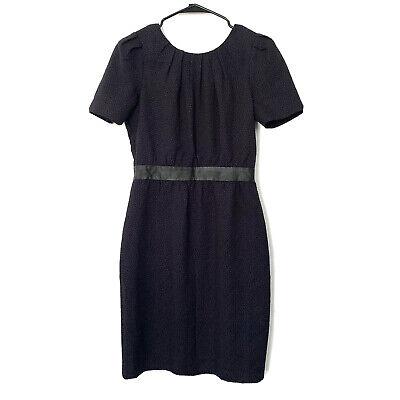 H&M Sheath Dress Womens Size 8 Blue Black Embossed Short Sleeve Faux Leather