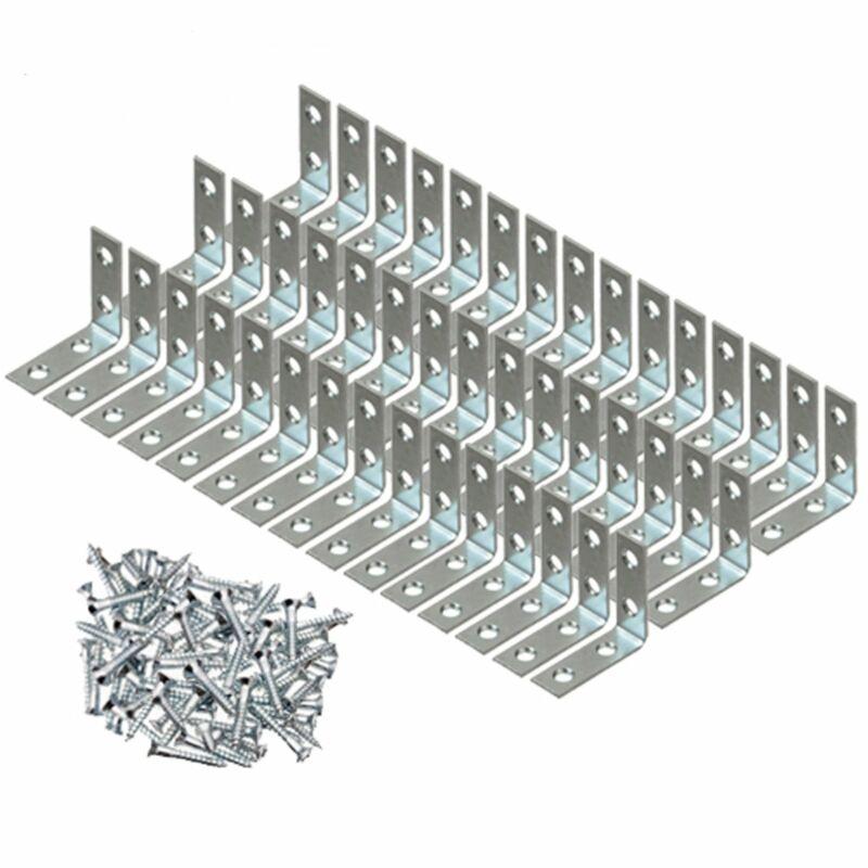 "50 Pcs 1.5"" inch ""L"" Steel Corner Braces w/ Screws Pack LOT Right Angle Bracket"