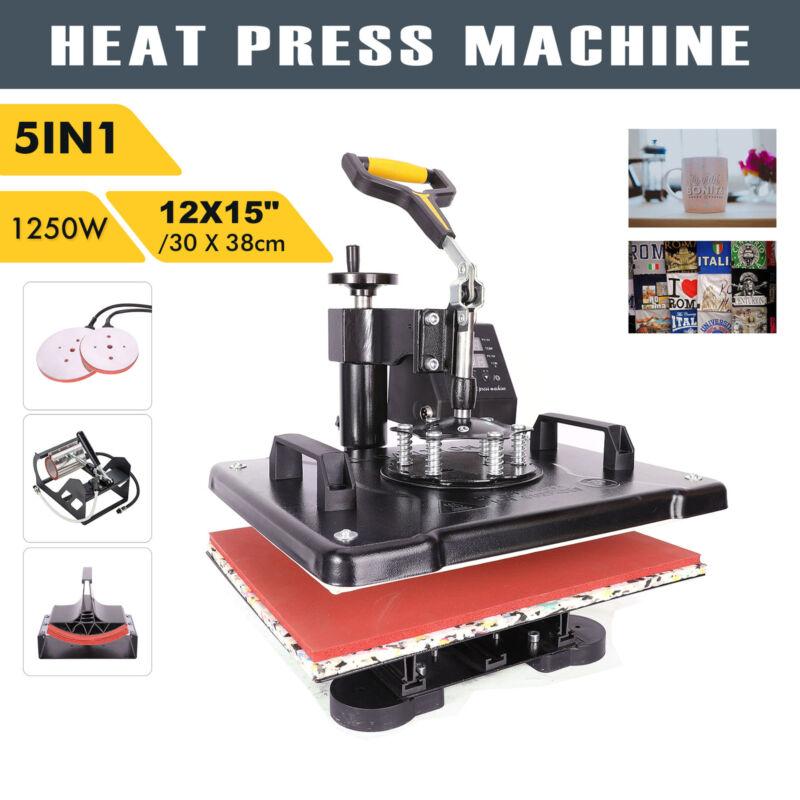 "Heat Press Transfer Digital Machine 12x15"" T-Shirt Mug Plate Cap 5 in 1 for Hat"