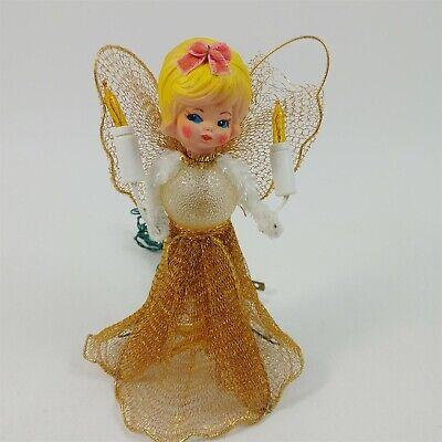 "Angel Tree Topper 7"" Gold Mesh Rubber Head Lights Christmas Vintage - Damaged"