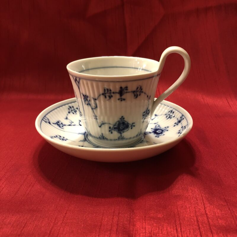 Vintage Royal Copenhagen Blue Fluted Half Lace Coffee Cup and Saucer
