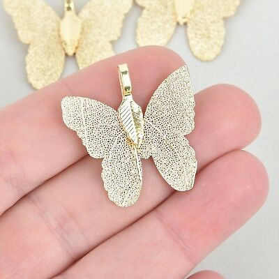 2 Light Gold Butterfly Charms, Real leaf charms, chs5303