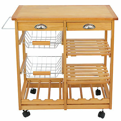 Wood Kitchen Storage Haul Dining Trolley w/Drawers Basket Rack CounterTop Comestible