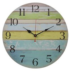 Old Oak 16-Inch Large Beach Wall Clock Decorative Silent Non-Ticking Nautical
