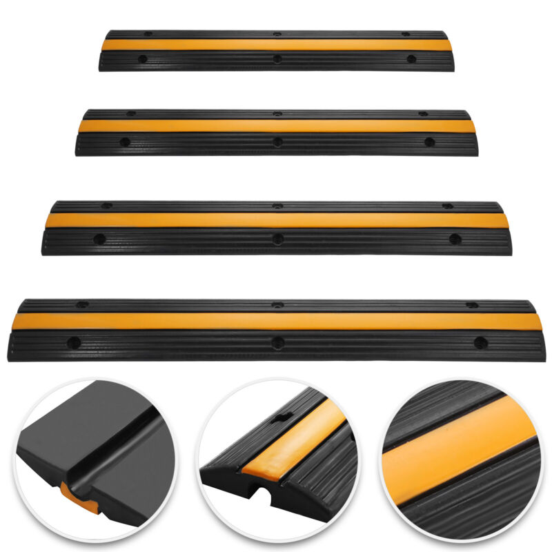 4pcs Cable Protector Ramp Wire Floor Track 1-Channel Cover W/Anti-slip Surface