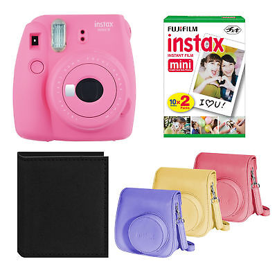Fujifilm Instax Mini 9 On the spot Camera (Pink) with Film, Groovy Box, and Album