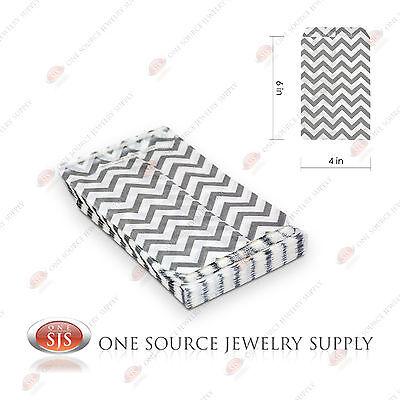 100 Silver Chevron Print Paper Bags Gift Bags Merchandise Bags 4 X 6