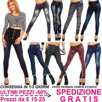 Jeans Moda Donna Scuri Pantaloni Skinny Slim Fit Elasticizzati Vita Bassa e Alta