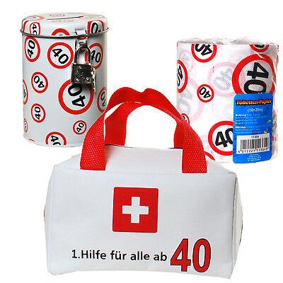 40.Geburtstag Geschenkset Erste Hilfe Tasche + Toilettenpapier + Spardose zum 40