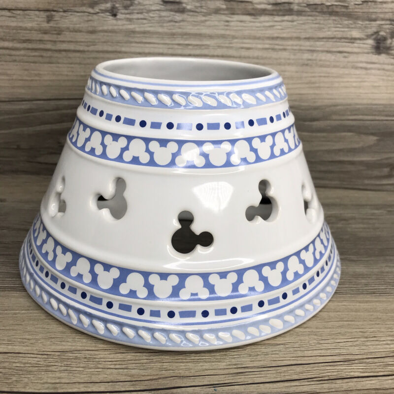 Disney Gourmet Mickey Mouse Ceramic Candle Jar Shade/Lid/Topper. Blue & White