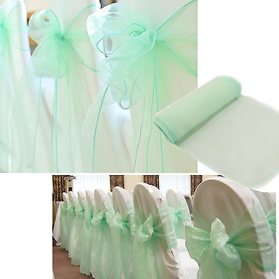 100pcs Mint Green Wedding Organza Chair Cover Sashes DIY Bows Banquet Decoration - Diy Wedding Chair Covers