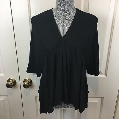 Zara Tunic Blouse Shirt Hi Lo Pleated Collarless Black Peasant Size M 6 8 Boho