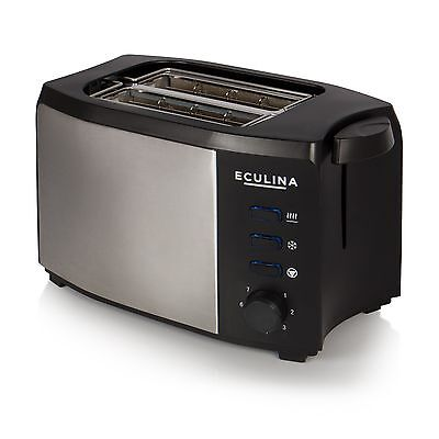 Eculina Doppelschlitz Toaster in Edelstahloptik 1000W mit Brötchenaufsatz Toster