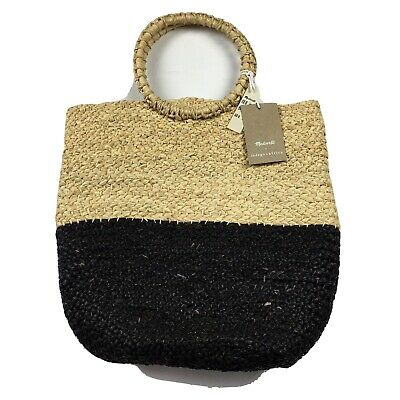 Madewell Indego Africa Black Tan Raffia Woven Twist Bag Ring Handles