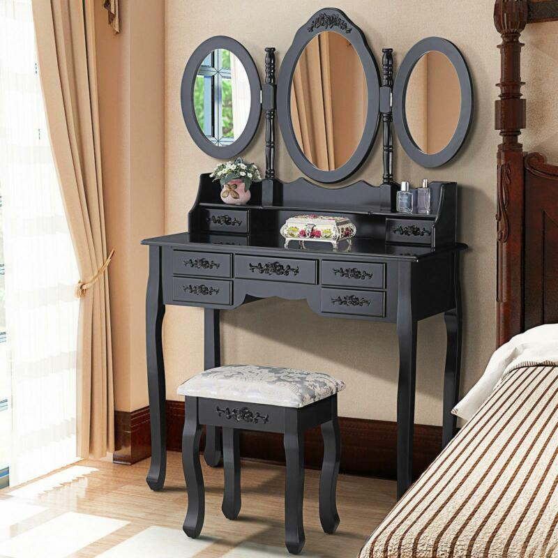 3 Mirror 7 Drawer Vanity Makeup Table Dressing Wood Desk Set with Stool black
