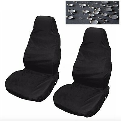 Car Seat Covers Waterproof Nylon Front 2 Protectors Black fits Seat Toledo Exeo