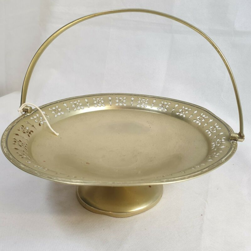Antique fretted pedestal dish. Taza, Plated. Collectable. Makers Marks.