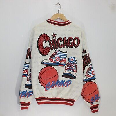 VTG Chicago Champ Basketball All Over Puffy Print Varsity Jacket OSFA Scovill Print Puffy Jacket