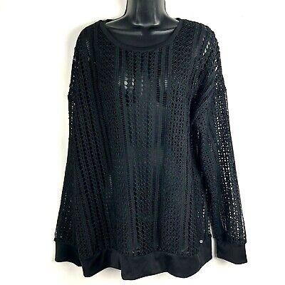 Fabletics XL Sophie Sweatshirt mesh lace crochet black open weave pullover