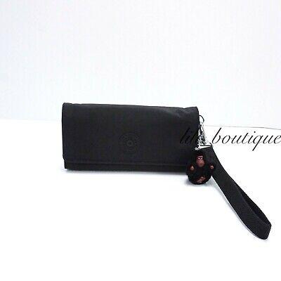 NWT Kipling AC8150 RUBI Snap Long Wallet Wristlet Nylon Polyamide Black Tonal 42