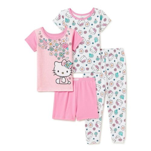 HELLO KITTY 4 PIECE TODDLER GIRLS PAJAMAS SIZE 12 18  MONTHS 2T 3T NEW