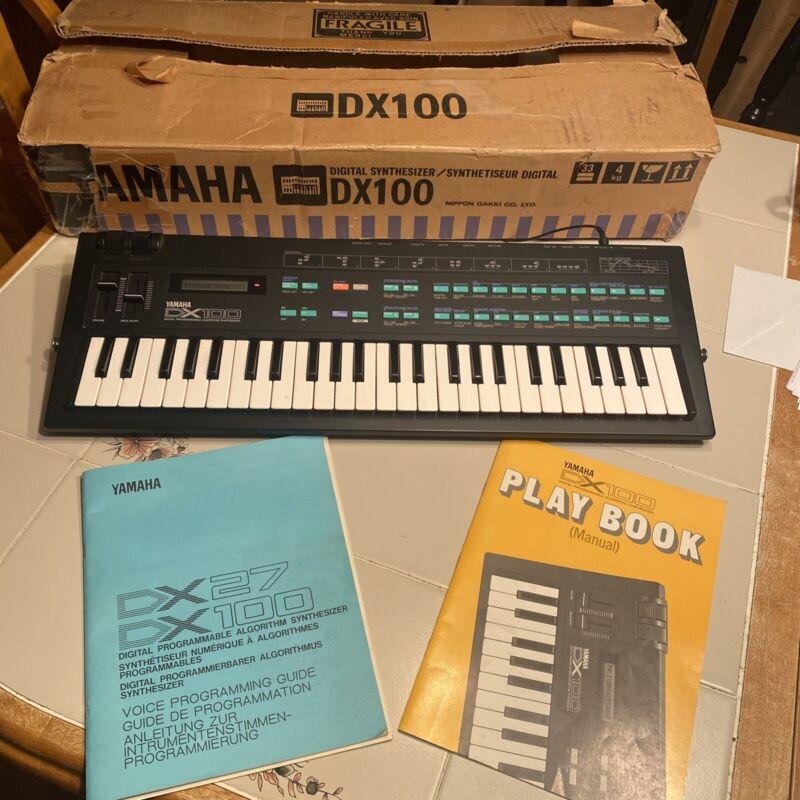 Yamaha DX100 Synthesizer 49-Key Keyboard Talkbox With Manuals In Original Box